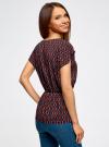 Блузка принтованная из вискозы oodji #SECTION_NAME# (разноцветный), 11400345-2/24681/7543G - вид 3