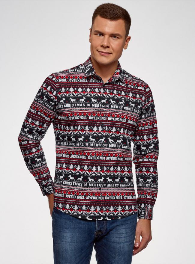 Рубашка приталенная с новогодним принтом oodji #SECTION_NAME# (разноцветный), 3L110347M/19370N/7912G