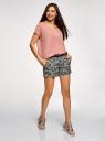 Футболка вискозная свободного силуэта oodji для женщины (розовый), 14708023/42562/4B00N
