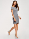 Платье трикотажное с вырезом-лодочкой oodji #SECTION_NAME# (серый), 14001117-2B/16564/2500M - вид 6