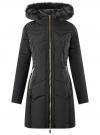 Куртка удлиненная с капюшоном oodji для женщины (черный), 20204047/45934/2901N