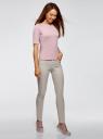 Джемпер в рубчик с круглым вырезом oodji для женщины (розовый), 14701075/46412/4000N