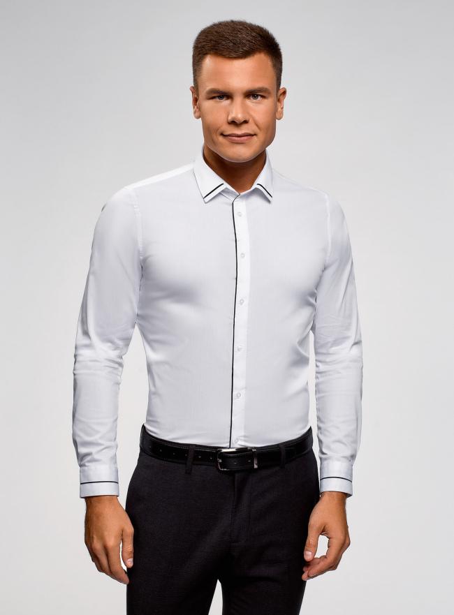 Рубашка приталенная с контрастной отделкой oodji для мужчины (белый), 3B140006M/34146N/1029B