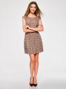 Платье принтованное из вискозы oodji #SECTION_NAME# (бежевый), 11910073-2/45470/3312D - вид 2