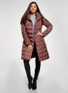 Пальто стеганое с объемным воротником oodji для женщины (красный), 10204049-1B/24771/3102N - вид 2