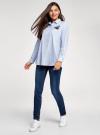 Рубашка oversize с вышивкой oodji #SECTION_NAME# (синий), 13K11004-1/45387/1070S - вид 6