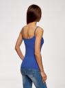 Топ трикотажный на тонких бретелях oodji для женщины (синий), 14305023-4B/45297/7502N