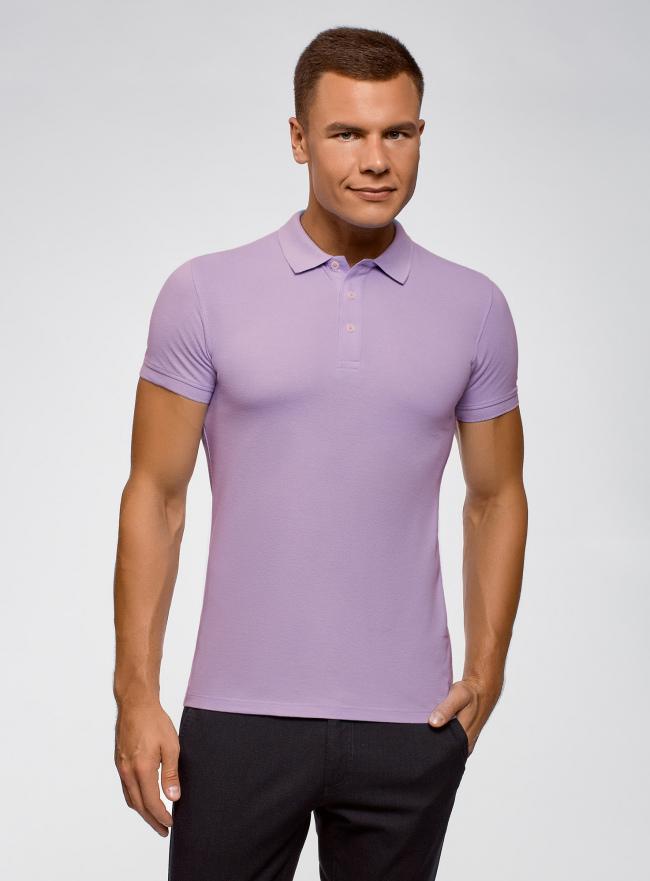 Поло из ткани пике oodji для мужчины (фиолетовый), 5B422001M/44032N/8000N