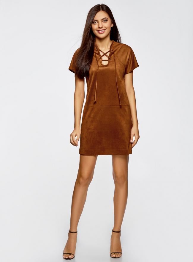 Платье из искусственной замши с завязками oodji #SECTION_NAME# (коричневый), 18L00001/45778/3100N