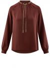 Блузка из струящейся ткани с металлическим украшением oodji #SECTION_NAME# (коричневый), 21414004/45906/4900N