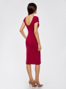 Платье миди с вырезом на спине oodji #SECTION_NAME# (красный), 24001104-5B/47420/4901N - вид 3