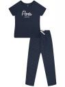 Пижама хлопковая с брюками oodji для женщины (синий), 56002200-9/46154/7912P