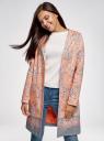 Пальто хлопковое на кнопках oodji #SECTION_NAME# (розовый), 10103038/14522/5423E - вид 2