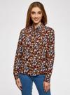 Блузка вискозная с завязками на воротнике oodji #SECTION_NAME# (разноцветный), 11411123/26346/3770F - вид 2