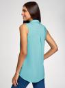 Топ вискозный с нагрудным карманом oodji для женщины (бирюзовый), 11411108B/45470/7300N