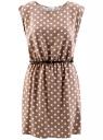 Платье принтованное из вискозы oodji #SECTION_NAME# (бежевый), 11910073-2/45470/3312D