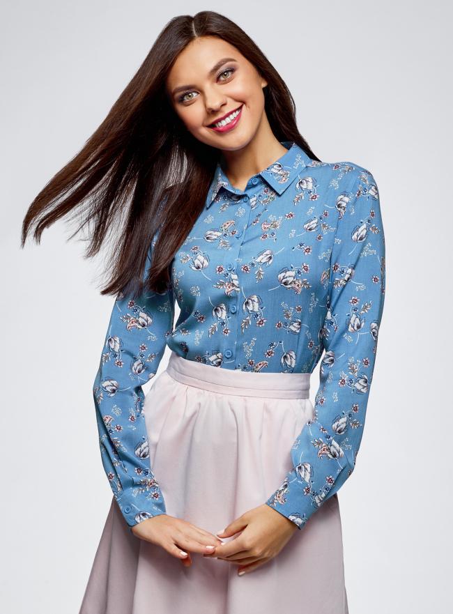 Блузка базовая из вискозы oodji для женщины (синий), 11411136B/26346/7412F