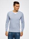 Пуловер с хлопковой вставкой на груди oodji для мужчины (синий), 4B212006M/39245N/7010B - вид 2