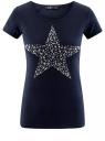 """Футболка с принтом """"звезда"""" из страз oodji для женщины (синий), 14701048-4/24428/7991P"""