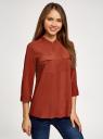 Блузка вискозная с нагрудными карманами oodji #SECTION_NAME# (коричневый), 11403225-7B/42540/4901N - вид 2