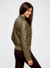 Куртка стеганая из искусственной кожи oodji #SECTION_NAME# (зеленый), 28A03001/45639/6800N - вид 3