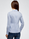 Блузка хлопковая с баской oodji #SECTION_NAME# (синий), 13K00001-1B/42083/7000N - вид 3