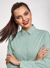 Рубашка удлиненная со скрытыми пуговицами oodji #SECTION_NAME# (зеленый), 13K00005/45202/6D10S - вид 4