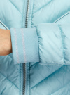 Куртка стеганая с круглым вырезом oodji для женщины (бирюзовый), 10203079/49439/7300B - вид 5