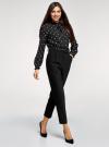 Блузка прямого силуэта с рюшами oodji #SECTION_NAME# (черный), 11411198-1/36215/2912O - вид 6