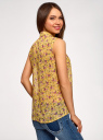 Топ из струящейся ткани с рубашечным воротником oodji #SECTION_NAME# (желтый), 14903001B/42816/524CF - вид 3