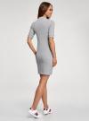Платье трикотажное с воротником-стойкой oodji #SECTION_NAME# (серый), 14001229/47420/2000M - вид 3