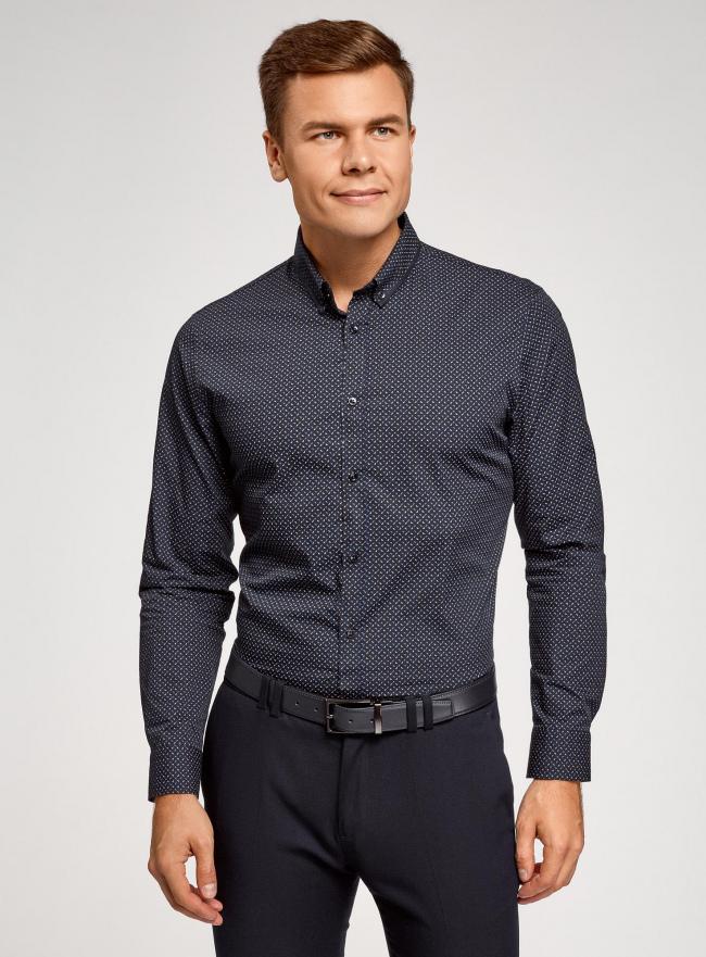 Рубашка приталенная с длинным рукавом oodji #SECTION_NAME# (синий), 3L110387M/44425N/7975G