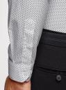 Рубашка хлопковая с контрастной отделкой воротника oodji #SECTION_NAME# (белый), 3B110031M/44425N/1079D - вид 5