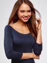 Платье облегающее с вырезом-лодочкой oodji #SECTION_NAME# (синий), 14017001-5B/46944/7900N - вид 4