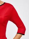 Платье трикотажное со складками на юбке oodji для женщины (красный), 14001148-1/33735/4500N