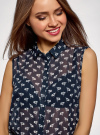 Топ из струящейся ткани с рубашечным воротником oodji для женщины (синий), 14903001B/42816/7912O - вид 4