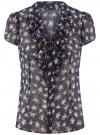Блузка из принтованного шифона с завязками oodji #SECTION_NAME# (синий), 21406022-3M/10466/7941F