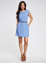 Платье вискозное без рукавов oodji #SECTION_NAME# (синий), 11910073B/26346/7501N - вид 2