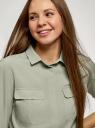 Блузка из струящейся ткани с регулировкой длины рукава oodji для женщины (зеленый), 11403225-10B/46123/6000N