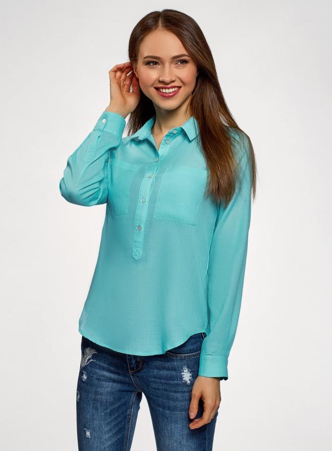 Рубашка хлопковая свободного силуэта oodji #SECTION_NAME# (бирюзовый), 11411101B/45561/7300N