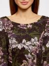 Платье трикотажное принтованное oodji #SECTION_NAME# (зеленый), 14001150-3/33038/254BF - вид 4