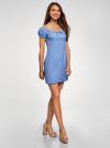 Платье хлопковое со сборками на груди oodji #SECTION_NAME# (синий), 11902047-2B/14885/7503N - вид 6