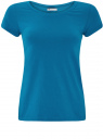 Футболка базовая из хлопка oodji для женщины (синий), 14701008B/46154/7501N
