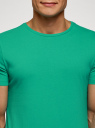 Футболка базовая oodji для мужчины (зеленый), 5B621002M/44135N/6500N