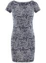 Платье трикотажное принтованное oodji #SECTION_NAME# (синий), 14001117-7/16564/7912O