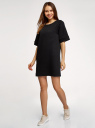 Платье в рубчик свободного кроя oodji #SECTION_NAME# (черный), 14008017/45987/2900N - вид 6