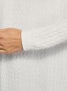 "Кардиган вязаный ""в косичку"" без застежки oodji для женщины (белый), 73212383-3B/49296/1200N"