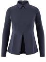 Блузка хлопковая с баской oodji #SECTION_NAME# (синий), 13K00001-1B/42083/7900N