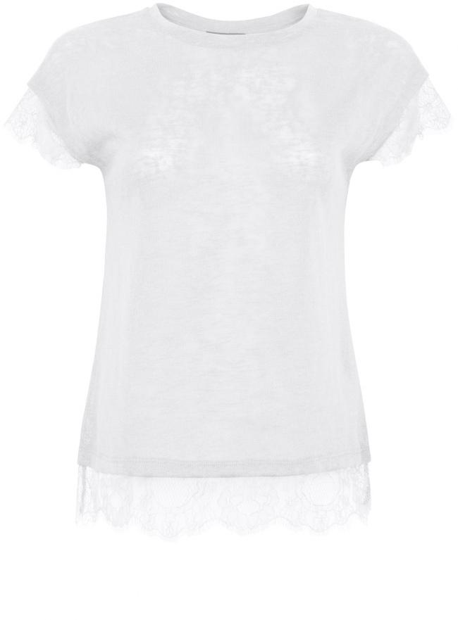 Трикотажная блузка oodji для женщины (слоновая кость), 11308090/35691/3000N