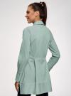 Рубашка удлиненная со скрытыми пуговицами oodji #SECTION_NAME# (зеленый), 13K00005/45202/6D10S - вид 3